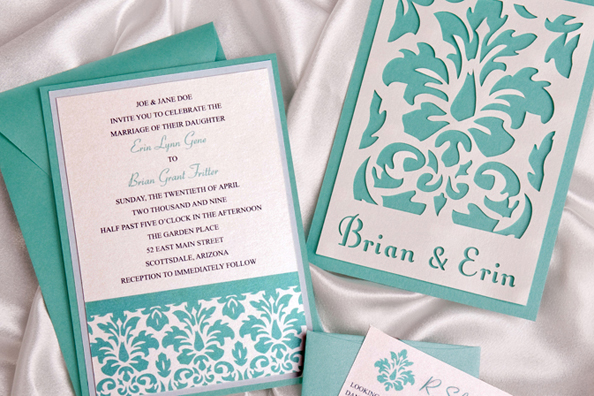 Green Damask Layered Wedding Invitation
