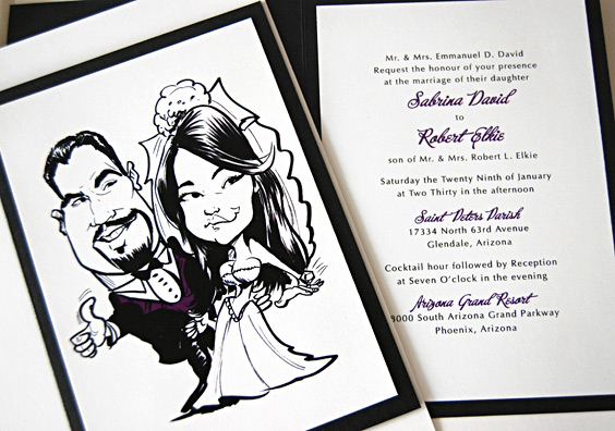 Drawing Portrait Wedding Invitation