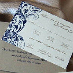 Royal Blue Filigree Wedding Invitation