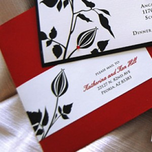 Red & Black Flower Bud Wedding Invitation