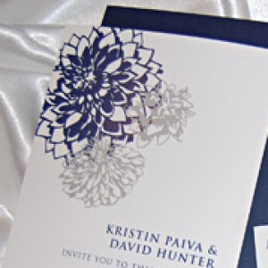 Navy Dahlia Flower Wedding Invitation
