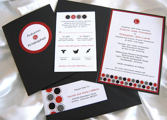 Folded Red & Black Circles Wedding Invite