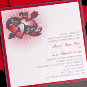 Hearts & Arrow Cutout Wedding Invitation