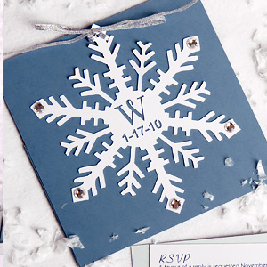 Snowflake Cutout Wedding Invitation