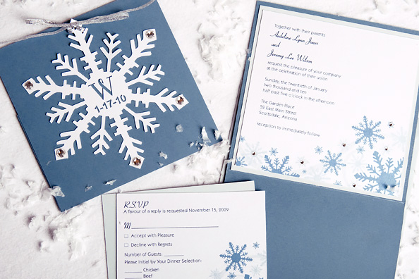 Folded Snowflakes Cutout RSVP and Wedding Invitation