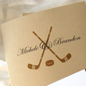 Hockey Monogram Wedding Invitation