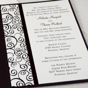 Curly Swirl Folded Wedding Invitation