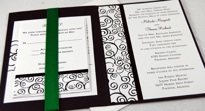 Swirly Folded Wedding Invitation