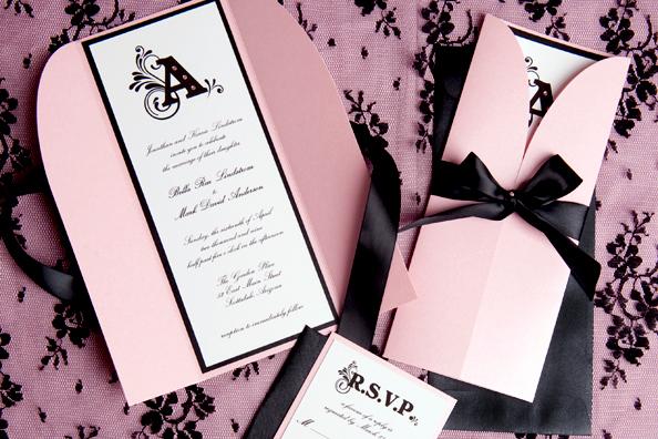 Pink & Black Damask Monogram Invitation