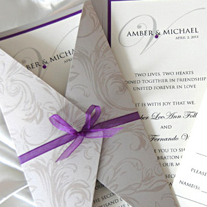 Patterned Gatefold Wedding Invitation
