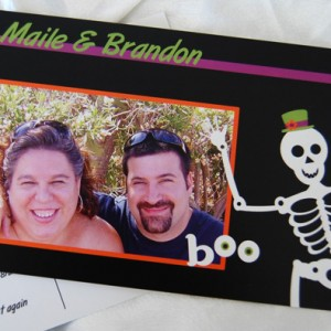 Halloween Postcard Wedding Invitation