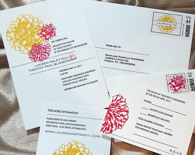 Letterpress Flowers Wedding Invitation