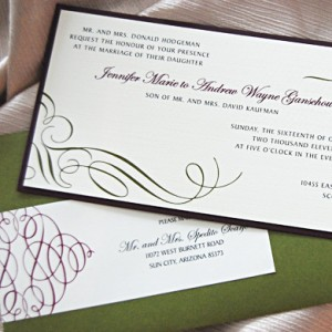 Long Scroll Swirls Wedding Invitation