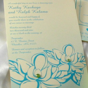 Magnolia & Rhinestones Wedding Invitation