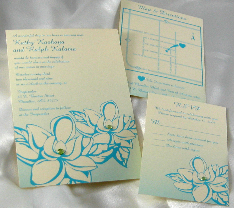 Magnolia & Rhinestones Wedding Invitation