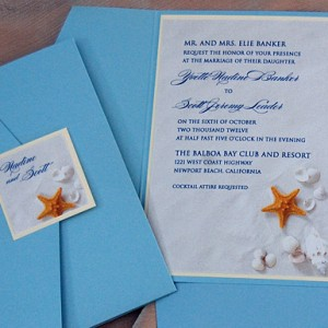 Sea Shells Beach Pocket Wedding Invitation