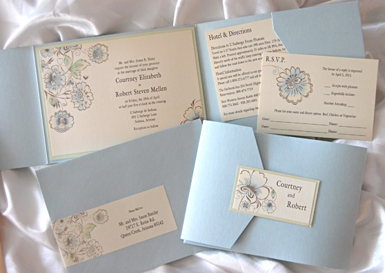 Watercolor Flowers Pocket Invitation