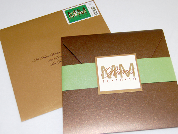 Monogram Seal & Belly Band Pocket Invitation