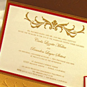 Copper & Gold Embossed Pocket Invitation