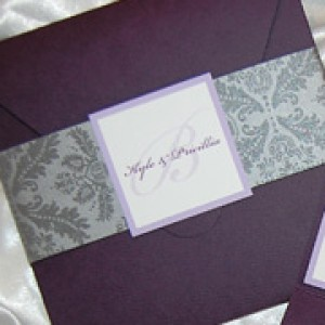 Damask Pattern Pocket Wedding Invitation