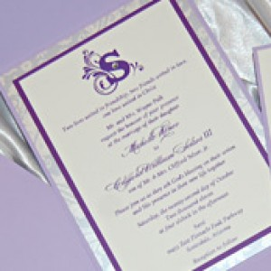 Purple Pocket Wedding Invitation