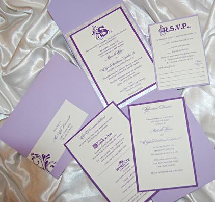Purple Flurry Monogram Pocket Wedding Invitation