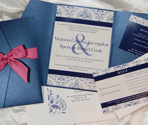 Patterned Blue Pocket Wedding Invitation