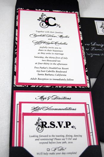 Pink Damask Monogram Wedding Invitation