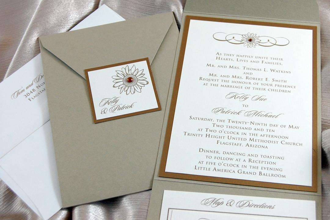 Pocket Sunflower Wedding Invitation
