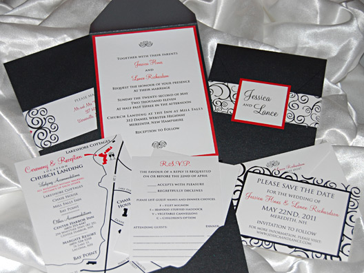 Swirly Pocket Wedding Invitation