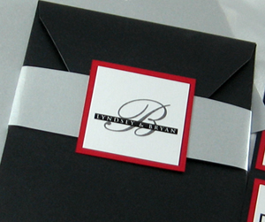Traditional Seal Monogram Pocket Wedding Invitation