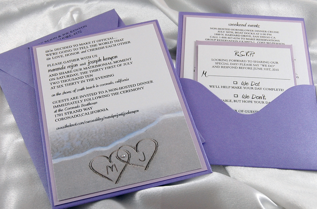 Beach Monogram Pocket Card Invitation
