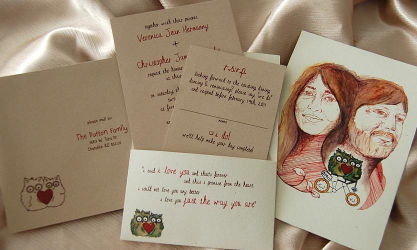 Recycled Owl Pocketcard Wedding Invitation