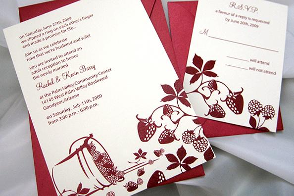 Strawberry Design Wedding Invitation