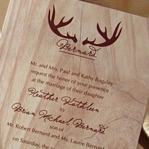 Antlers Monogram Faux Wood Invitation