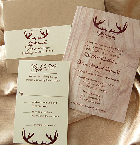 Wood Hunting Lodge Wedding Invitation