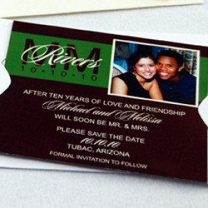 Brown and Green Photo Wedding Invitation