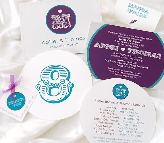 Circles and Hearts Matching Wedding Invitations