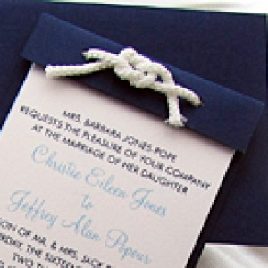 Nautical Ticket Wedding Invite With Rope Knot