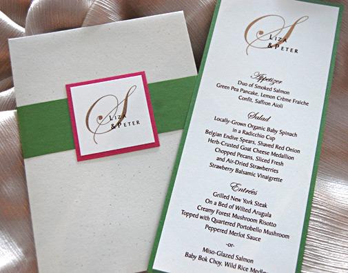 Green Monogram Wedding Invitation