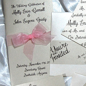 Slanted Script Flat Wedding Invitation