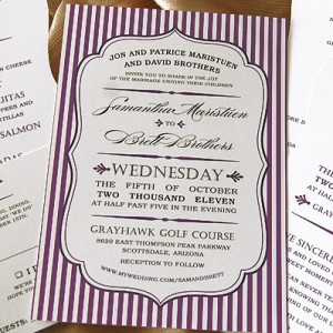 Striped Bracket Edge Wedding Invites