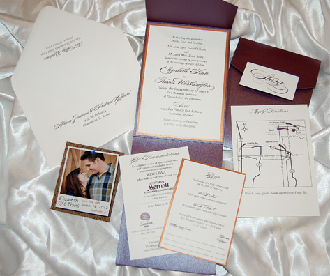 Burgundy and Gold Script Wedding Invites