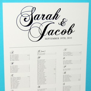 White Script Wedding Reception Escort Poster