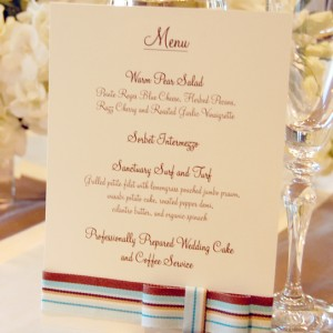Striped Ribbon Wedding Reception Menu