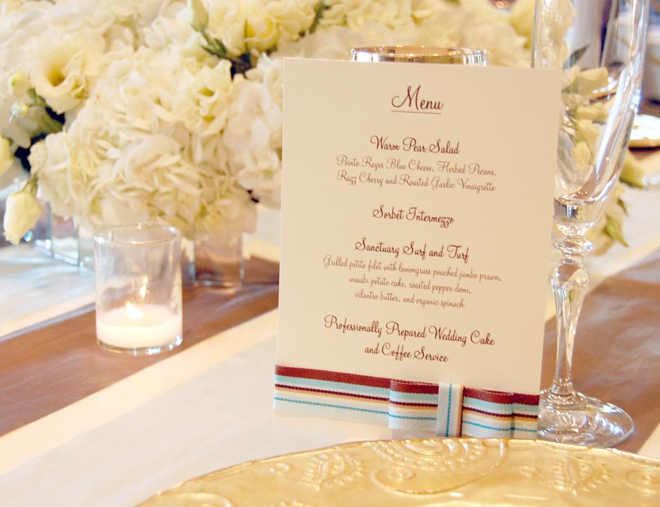 Striped Ribbon Wedding Reception Menu