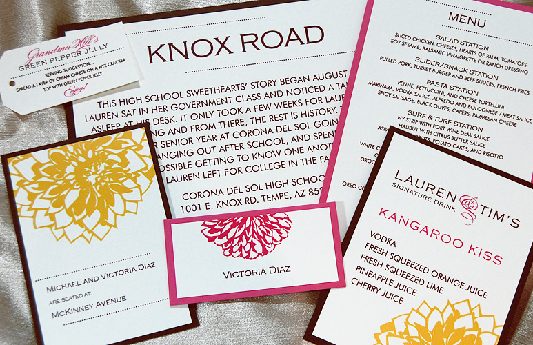 Floral Wedding Reception Menu, Tag and Escort Signs