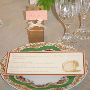 Blush and Gold Layered Reception Menu