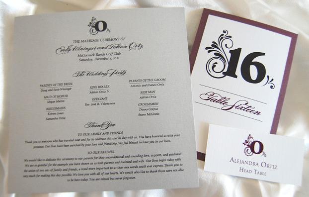 Flurry Monogram Wedding Reception Program, Table Number and Escort Card