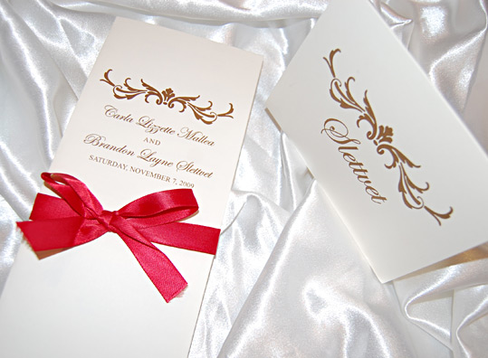 Simple Wedding Reception Program and Table Names